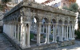 Обои двор, Италия, развалины, колонны, руины, Генуя, дом Колумба