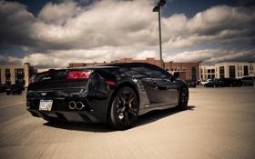 Обои чёрный, Lamborghini, Gallardo, black, ламборджини, галлардо