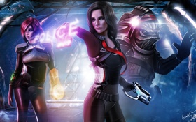 Обои оружие, значок, полиция, костюм, Mass Effect, Шепард, фанарт