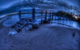 Обои ночь, мост, река