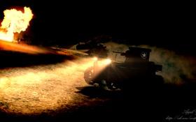 Картинка ночь, огонь, фары, арт, танк, США, танки
