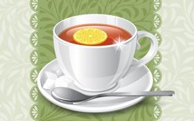 Обои фон, лимон, чай, ложка, чашка, блюдце