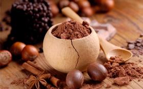 Картинка плитка, шоколад, конфеты, сладости, орехи, корица, chocolate
