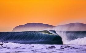 Картинка море, волны, закат