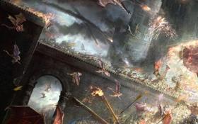 Картинка мост, оружие, замок, драконы, арт, битва