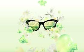 Обои зеленая, очки, Spring Fever