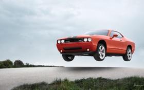 Картинка Dodge, в воздухе, машына, красного цвета