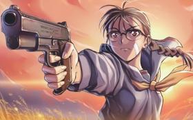 Обои hiroe rei, пистолет, очки