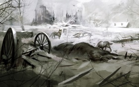 Обои лес, волки, assassins creed 3, коннор