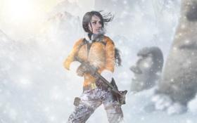 Обои зима, девушка, снег, горы, ветер, lara croft, tomb raider