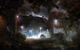 Обои деревья, ночь, дом, дождь, человек, полнолуние