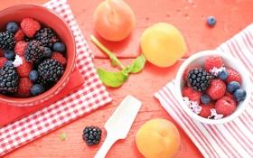 Обои ягоды, малина, стол, черника, посуда, фрукты, ежевика