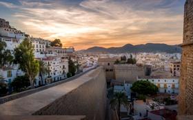 Картинка горы, город, дома, Испания, Ibiza