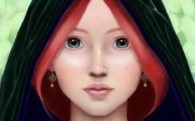 Обои зеленые глаза, девушка, арт, капюшон, рыжие волосы, взгляд
