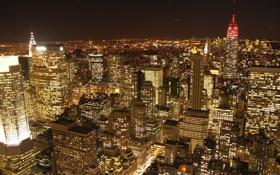 Обои город, ночной город, new york, нью йорк, пецзаж