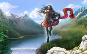 Картинка лес, пейзаж, горы, прыжок, эльф, водопад, арт