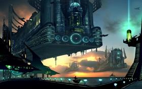 Картинка небо, город, корабли, Будущее