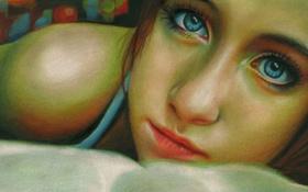 Картинка взгляд, девушка, лицо, ресницы, губы, голубые глаза, живопись