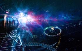 Картинка космос, люди, фантастика, отель, метеориты, космическая станция, motel