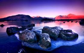 Обои закат, горы, камни, утро