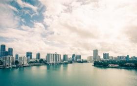 Картинка Вода, Дома, Майами, Флорида, Здания, США, Америка