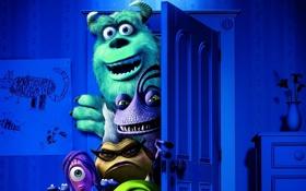 Обои комната, мультфильм, дверь, монстры, Академия монстров, Monsters University, Inc.