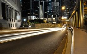 Обои выдержки, hong kong, улица, огни, приоритет, дорога, автомобили