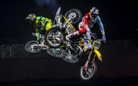 Обои прыжок, мотоциклы, спорт