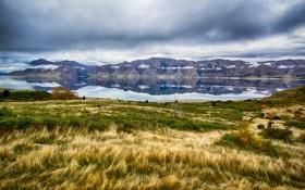Картинка осень, небо, трава, облака, снег, горы, озеро
