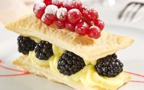 Картинка ежевика, смородина, пирожное, еда, торт, сладости