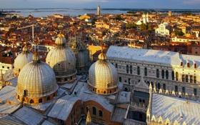 Обои море, дома, Италия, панорама, Венеция, купол, собор Святого Марка