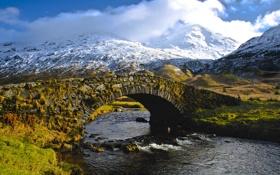 Обои облака, река, небо, горы, снег, мост
