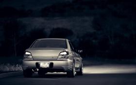Обои ночь, Subaru, Impreza, WRX, серебристая, субару, импреза