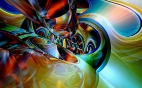 Обои разводья, абстракция, окружности, лучи, гамма, цвет