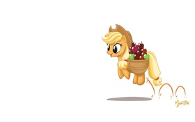 Картинка прыжок, корзина, яблоки, пони, My little pony, MysticAlpha, Applejack
