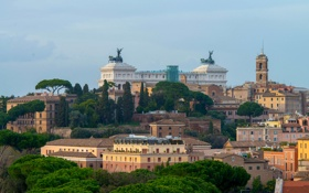 Картинка деревья, дома, Витториано, Рим, панорама, Италия