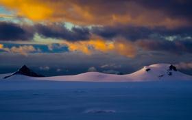 Картинка зима, снег, горы, тучи, природа