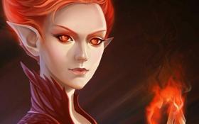Картинка девушка, лицо, огонь, пламя, эльф
