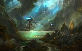 Картинка небо, горы, фантастика, скалы, человек, джунгли, арт