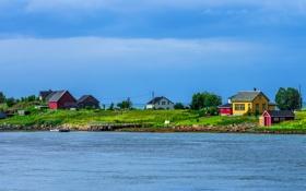 Обои залив, поселок, дома, норвегия, деревья, небо