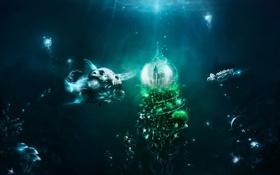Картинка грибы, черепаха, рыба, медузы, под водой