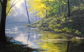 Обои рисунок, арт, artsaus, forest glow