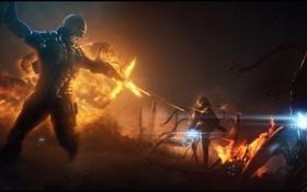 Картинка взрыв, пламя, монстры, Солдат, броня, выстрелы, лазерный прицел