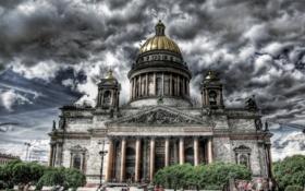 Картинка небо, облака, тучи, Город, Питер, Собор, Россия