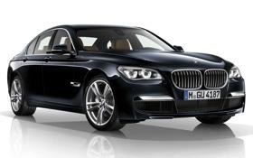 Обои отражение, фон, BMW, БМВ, седан, передок, 7 Series