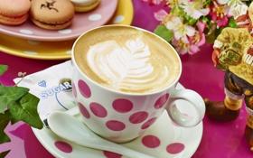 Обои чашка, пирожные, кофе, рисунок