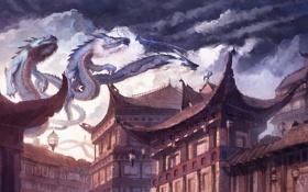 Обои змеи, крыши, арт, фонари, полёт