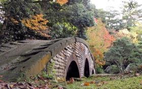 Картинка листва, Осень, мост, парк, деревья