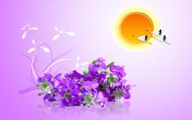 Обои фиолетовый, солнце, птицы, рисунок, журавли