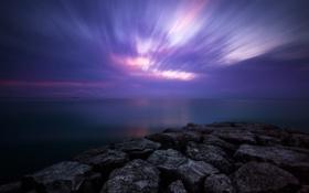 Картинка море, небо, облака, ночь, камни, скалы